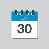 istock Icon calendar day 30 July, summer days of the year 1219462165