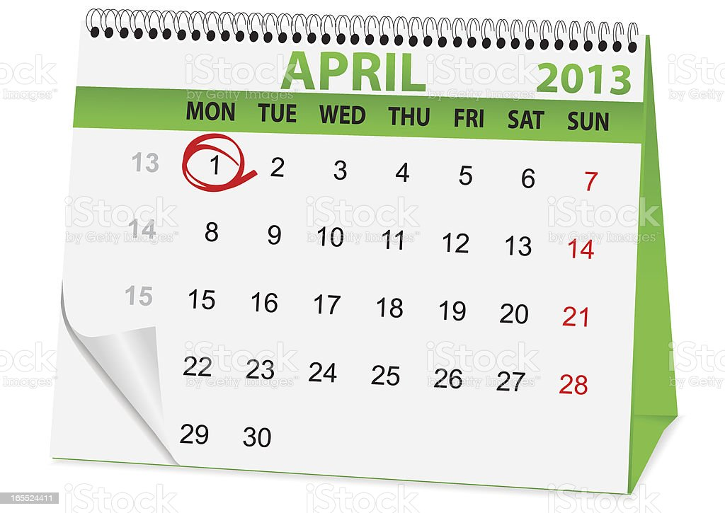 icon calendar for April 1 royalty-free stock vector art
