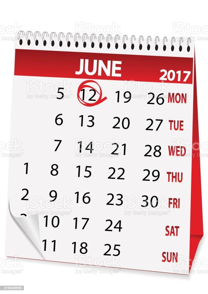 calendario de icono para el 12 de junio de 2017 - ilustración de arte vectorial