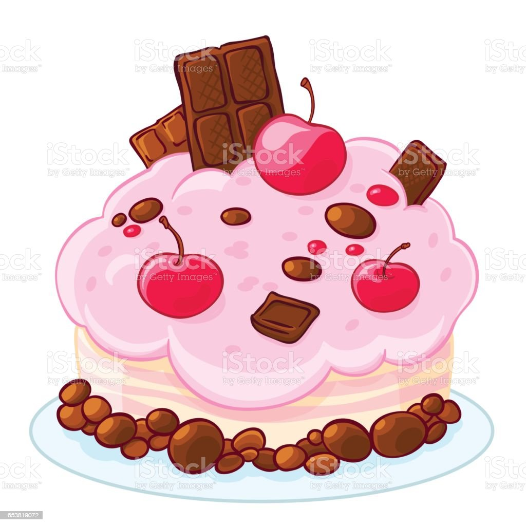 Icon cartoon delicious sponge cake with chocolate, jelly beans and cherries. Treat for the birthday. vector art illustration