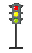 Icon cartoon traffic light. Signals with red light above yellow and green. Isolated on white background. Vector illustration