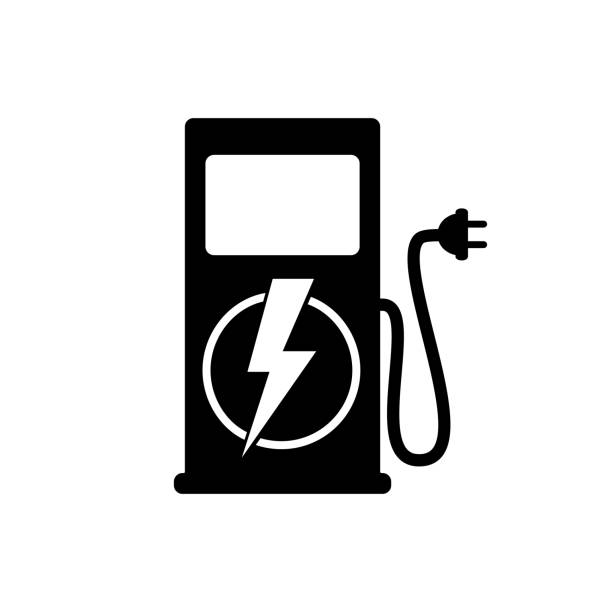 Icon charging stations of electric cars Icon charging stations of electric cars. Vector illustration. hybrid vehicle stock illustrations