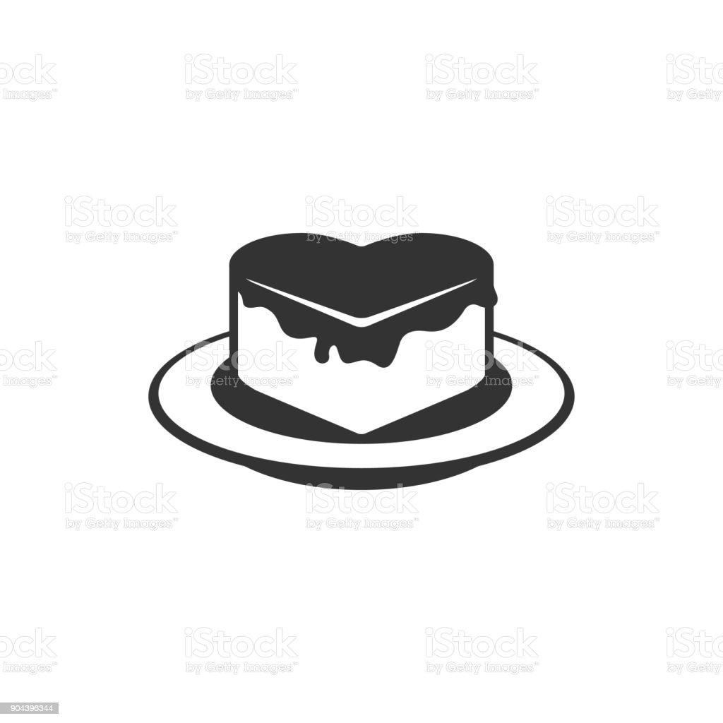 BW icon - Chocolate cake vector art illustration