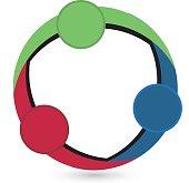 icon circle teamwork vector