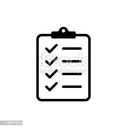 Icon clipboard checklist or document with checkmarck with text in flat style. EPS 10