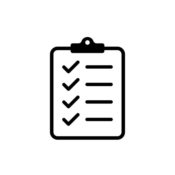 illustrazioni stock, clip art, cartoni animati e icone di tendenza di icon clipboard checklist or document with checkmarck with text in flat style. - project