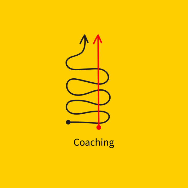 Icon coaching, logistics Icon coaching, logistics, straight and tortuous lines, fast goal achievement, business success, professional development, vector abstract sketch coach stock illustrations