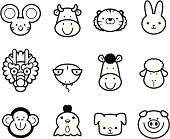 Vector illustration – Icon Set: Cute Chinese Zodiac in black and white.