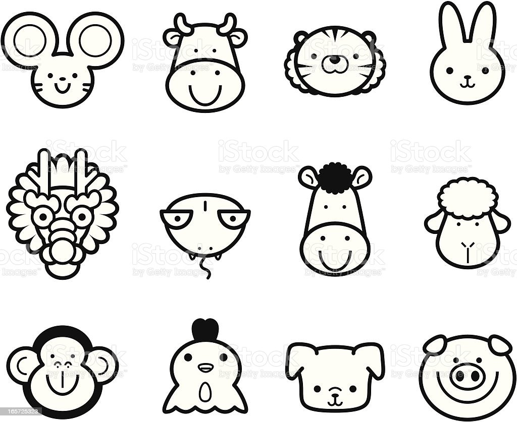 Icon Collection: Cute Chinese Zodiac in black and white vector art illustration