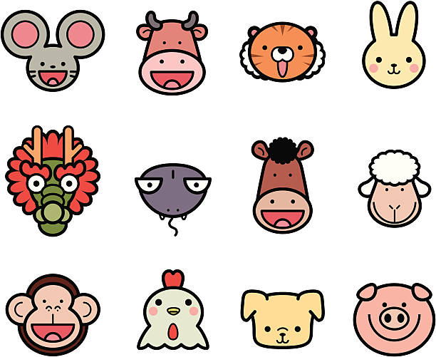 Icon Collection: Cute Chinese Zodiac in color vector art illustration