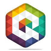 icon colorful hexagon  with combination of the initials of the letter Q