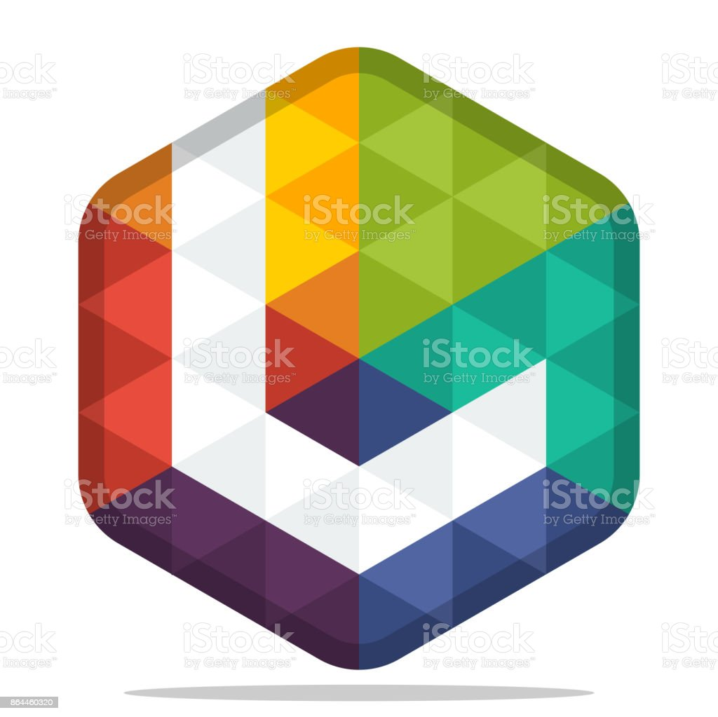 icon colorful hexagon  with combination of the initials of the letter L vector art illustration