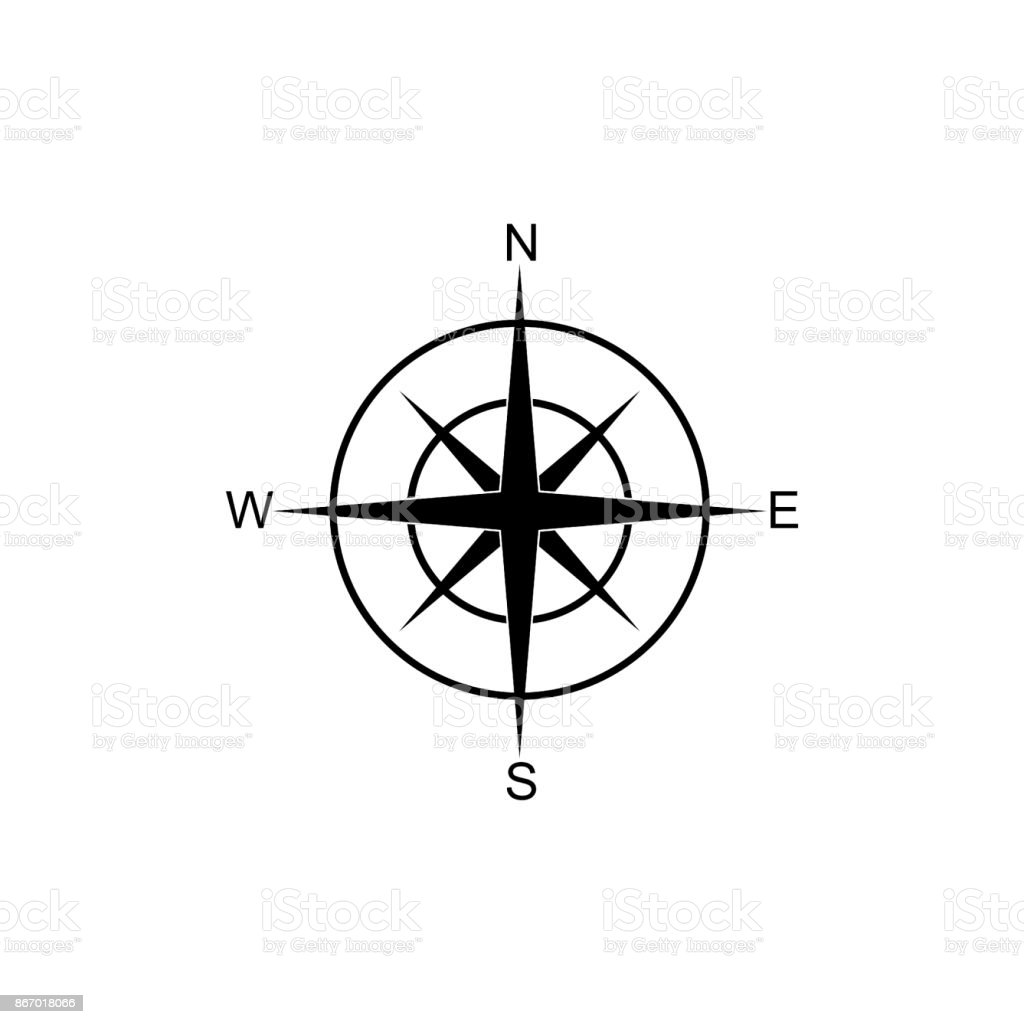 icon compass, navigation, direction vector art illustration