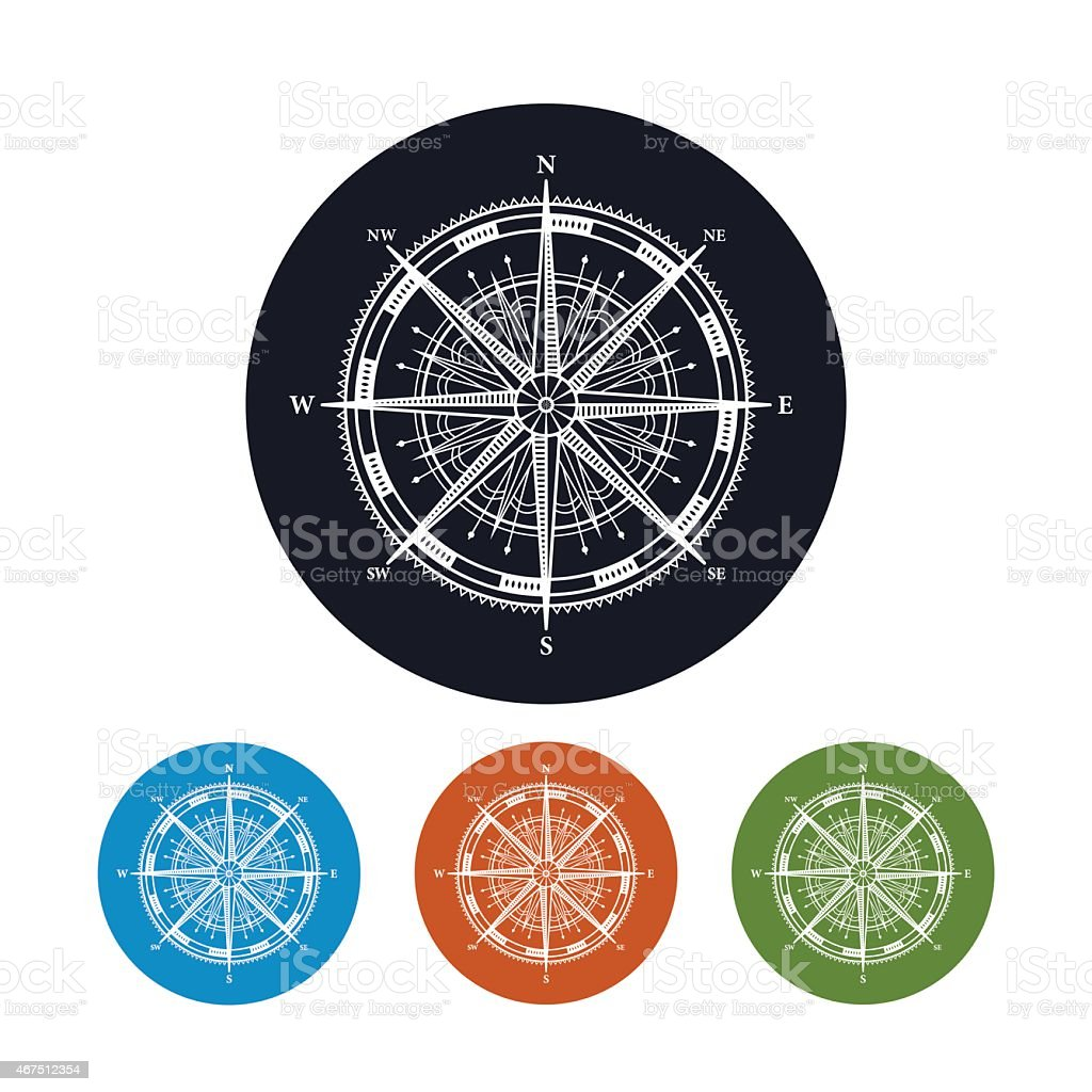Icon compass rose,  vector illustration vector art illustration