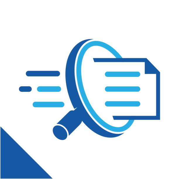icon conceptual illustration to search for documents quickly, related to the business of digital document management services. - research stock illustrations
