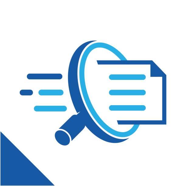 ilustraciones, imágenes clip art, dibujos animados e iconos de stock de ilustración conceptual icono buscar rápidamente, documentos relacionados con el negocio de servicios de gestión de documentos digitales. - logotipos de investigación