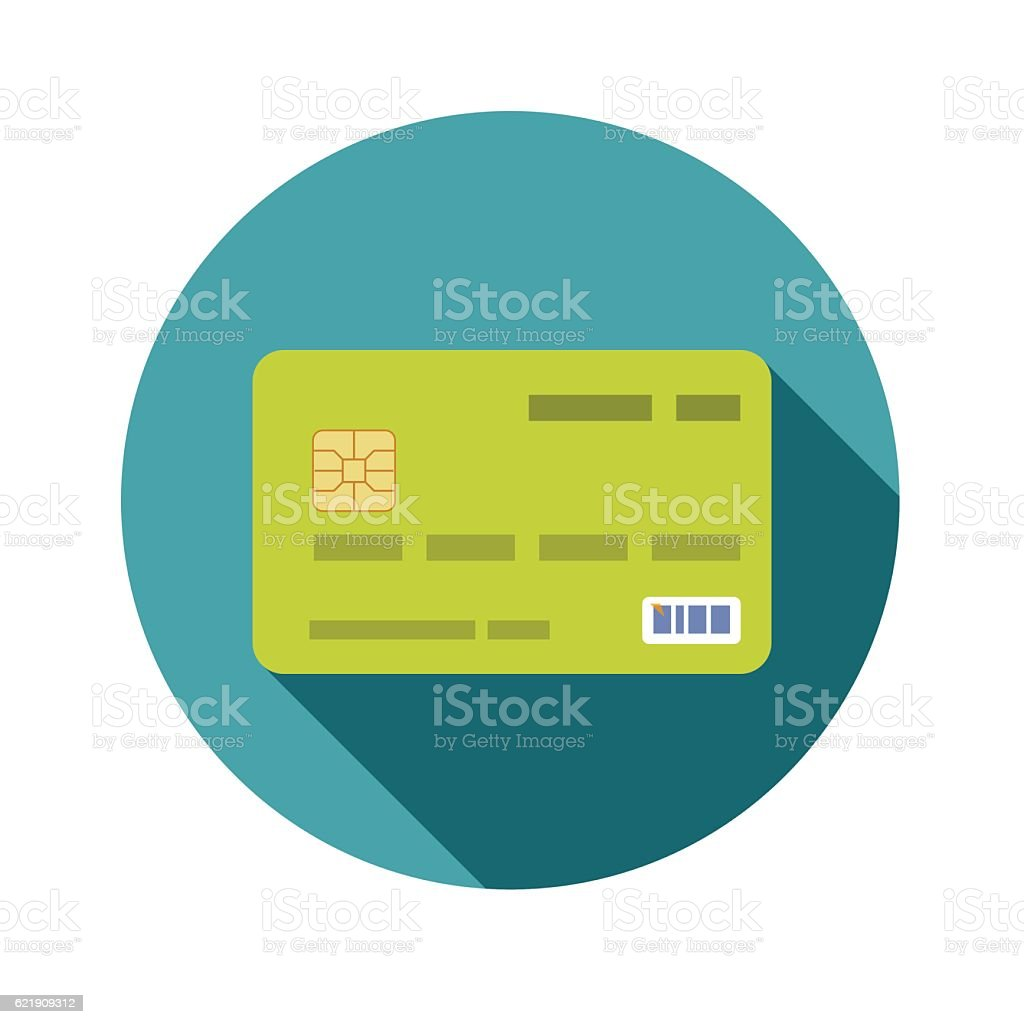 Icon credit bank card in a flat style with shadow vector art illustration