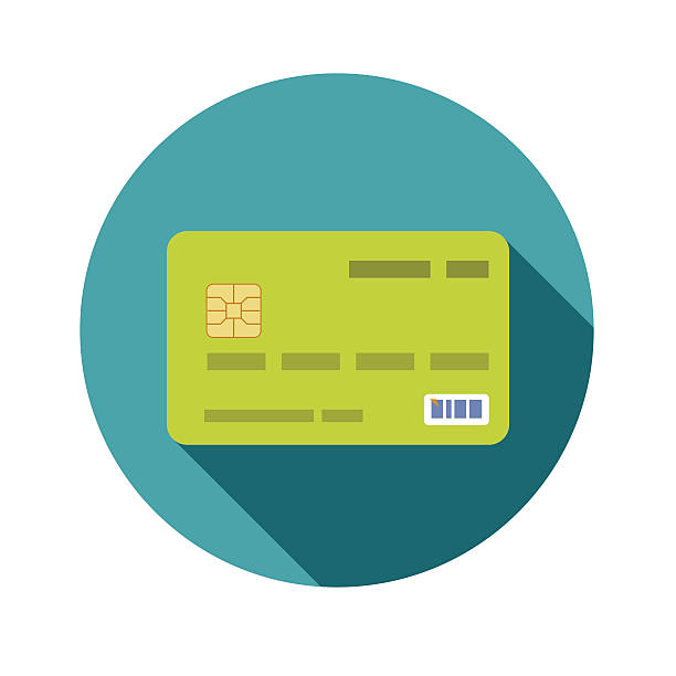 Icon credit bank card in a flat style with shadow - Illustration vectorielle