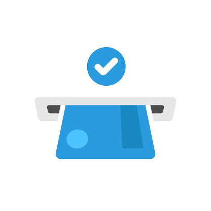 ATM Icon. Credit Card and Withdraw Money Check Mark Vector Design on White Background.
