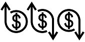 Icon crisis and development flourishing, vector dollar sign and arrow up and down, concept of economic crisis and business development