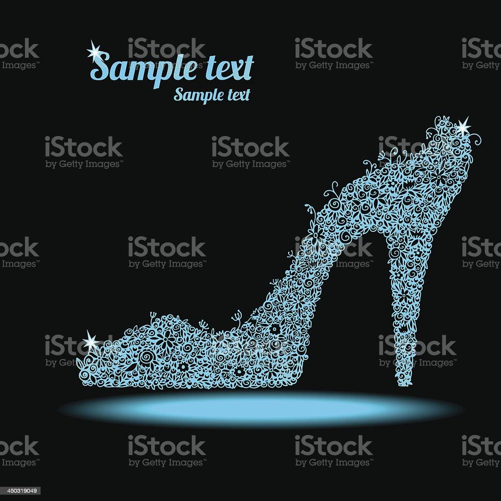 Icon crystal Blumenmuster Schuh – Vektorgrafik