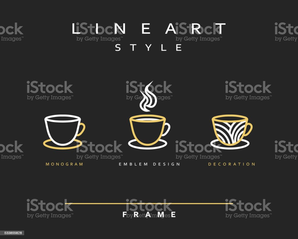 Icon cups . Emblem line art design. Elegant brochure restaurant coffee. vector art illustration