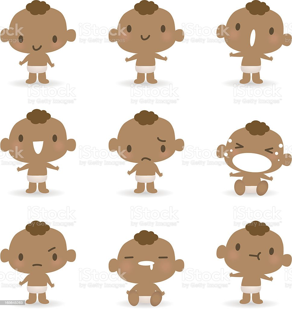 Icon ( Emoticons ) - Cute babies( mad, crying, smiling, sleeping ) vector art illustration