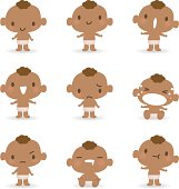 Icon ( Emoticons ) - Cute babies( mad, crying, smiling, sleeping )