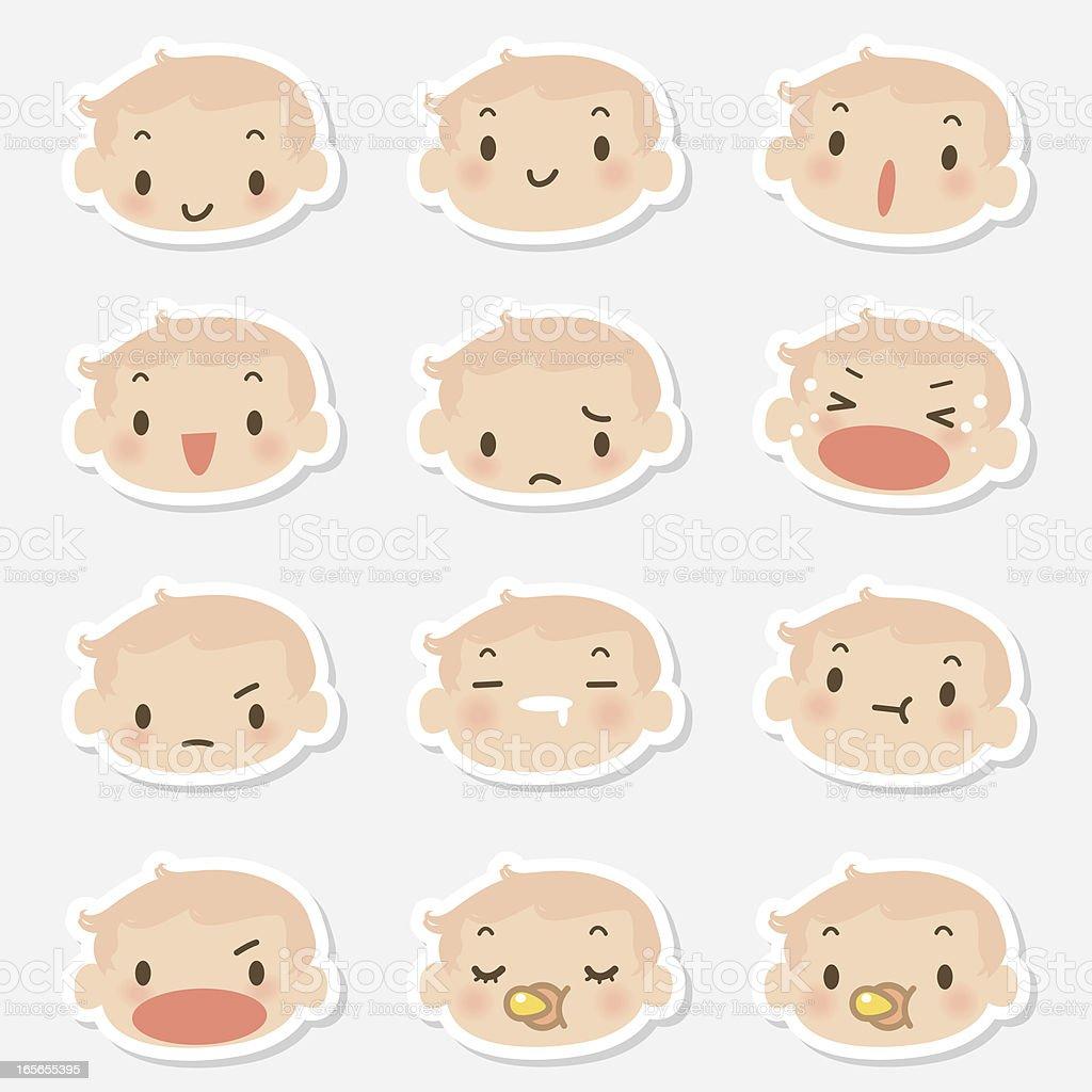 アイコン(Emoticons )-かわいい赤ちゃんフェイス(mad ,泣き、笑顔、寝室) ベクターアートイラスト