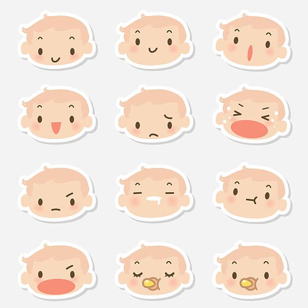 アイコン(emoticons )-かわいい赤ちゃんフェイス(mad ,泣き、笑顔、寝室) - 興奮の絵文字点のイラスト素材/クリップアート素材/マンガ素材/アイコン素材
