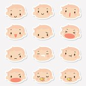 Icon ( Emoticons ) - Cute Baby Face( mad, crying, smiling, sleeping )