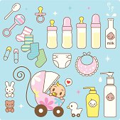 Vector Icon Set - Cute Baby in a Stroller and Babies Goods.