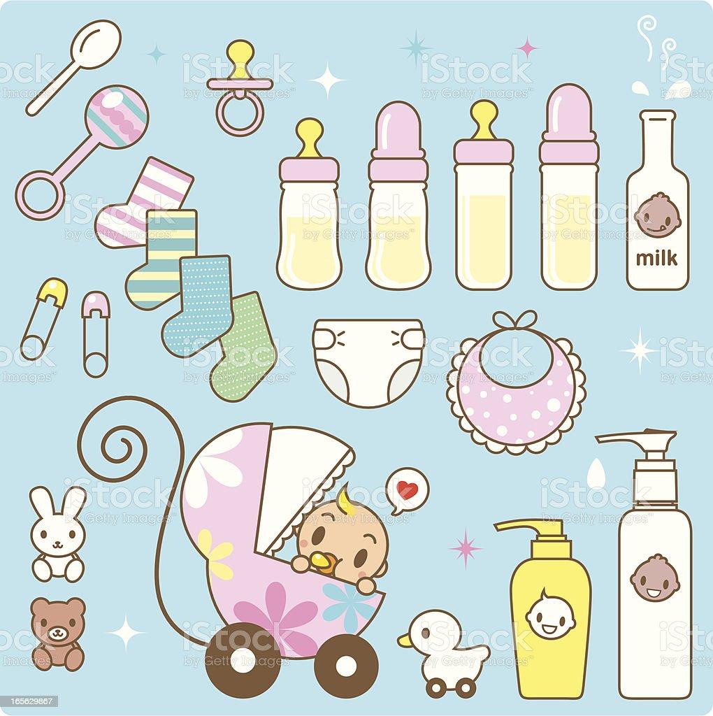 Icône: Mignon bébé dans la poussette et des bébés - Illustration vectorielle