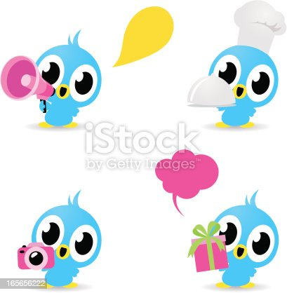 istock Icon  - Cute Birds (Photographing, food service, gift, loudspeaker) 165656222