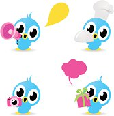 Cute style vector icons - Cute Birds (Photographing, food service, gift, loudspeaker ) .