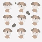 Icon ( Emoticons ) - Cute Dog(smiling, singing, talking, looking )
