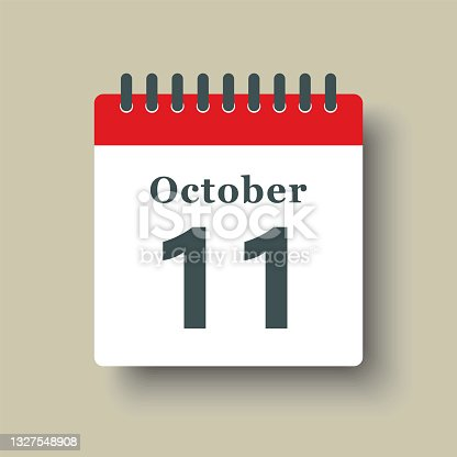 istock Icon day date 11 October, template calendar page 1327548908