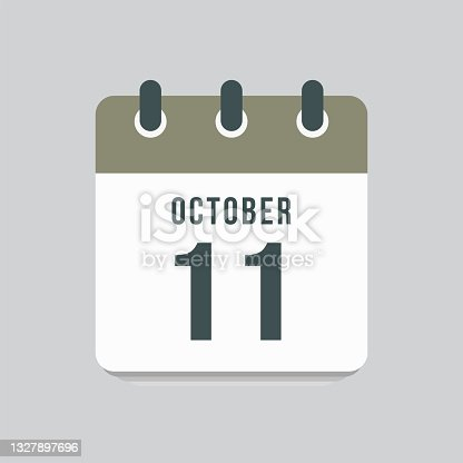 istock Icon day date 11 October, template calendar page 1327897696