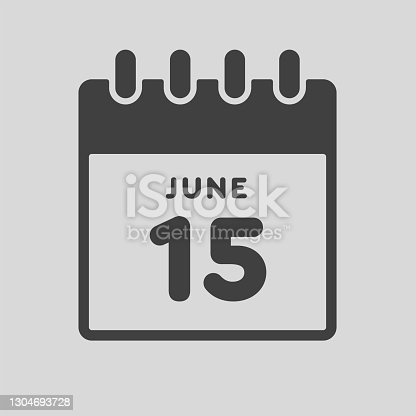 istock Icon day date 15 June, template calendar page 1304693728