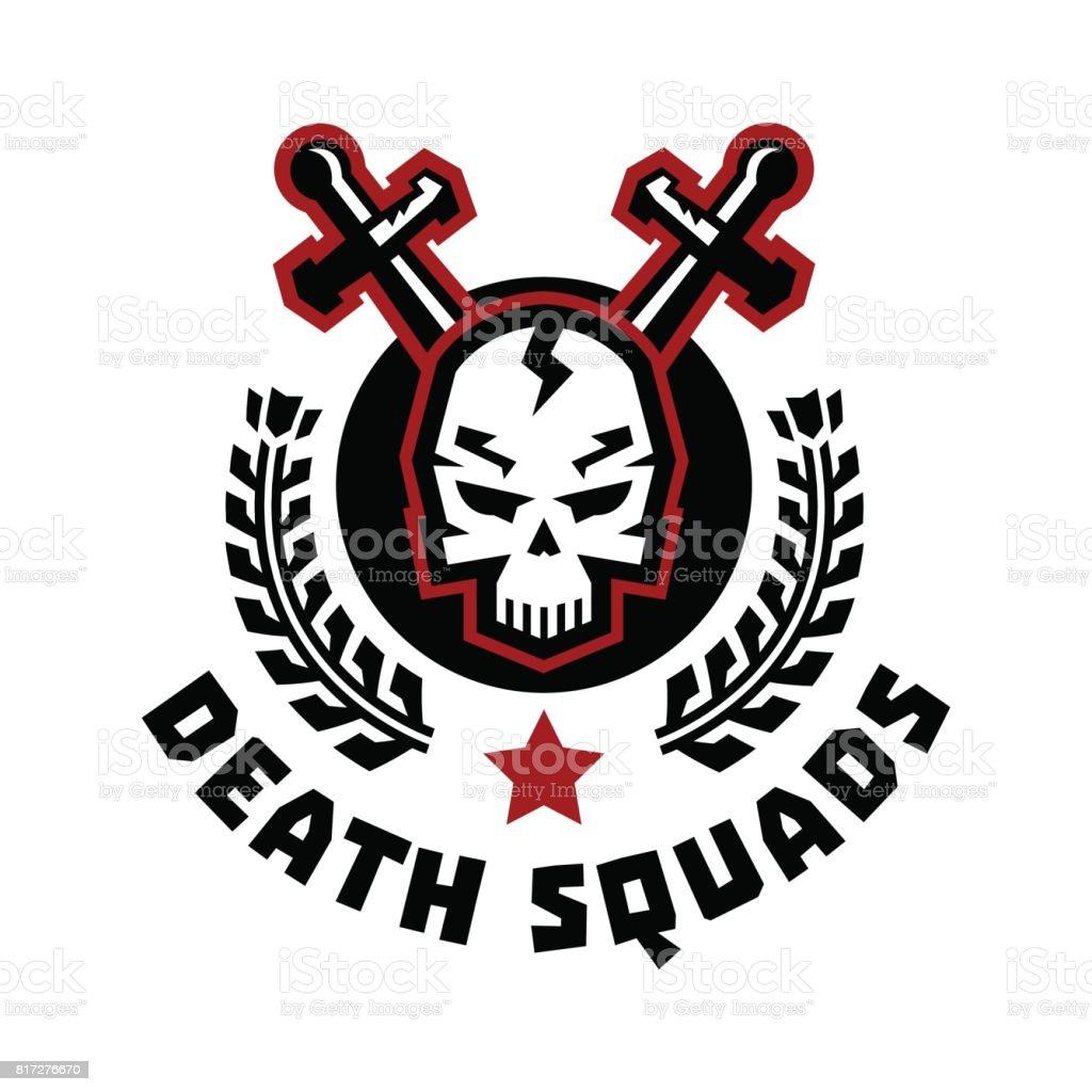 847150a992dad Esquadrão da morte de ícone. Cruzam as espadas. Crânio e grinalda.  Ilustração em