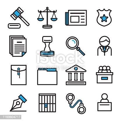 Icon design for law concept.Vector icon design set.thin line icon.
