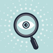 istock Icon design of eye and Magnifying glass 1070938960