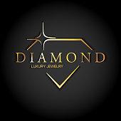 Icon Stylized Diamond. Golden Vector Logo on black background. Luxury jewellery.