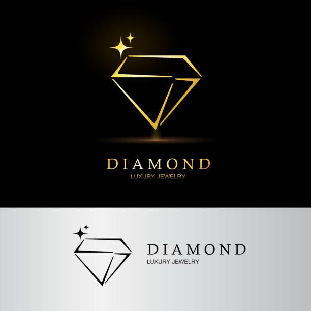 Icon diamond. Vector logo. Icon Stylized Diamond. Vector Logo design, Luxury jewelry diamond shaped stock illustrations