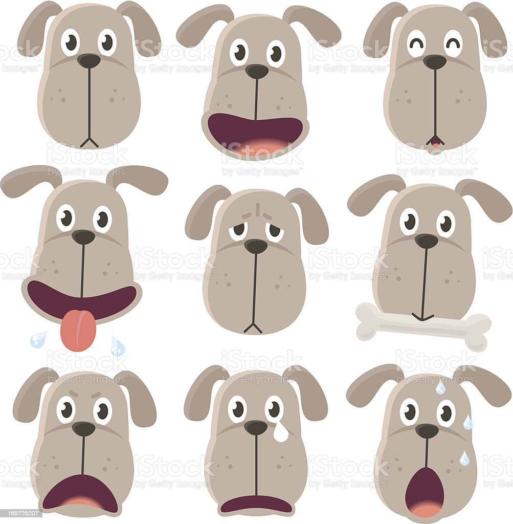 Icon ( Emoticons ) - Dog in various moods vector art illustration