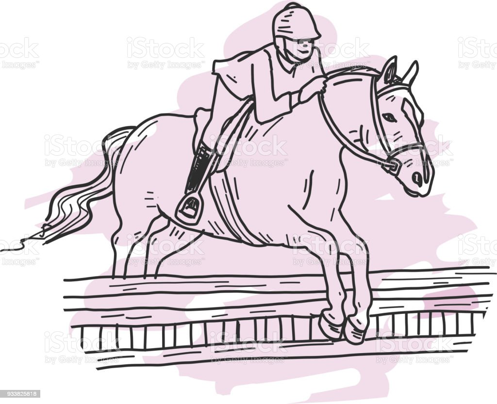 fence drawing. Icon Drawing Of A English Equestrian Horse And Rider Jumping Fence Royalty-free I