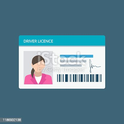 istock Icon driver's license in flat style, identity card. ID card, identification card, identity verification, person data 1186932138