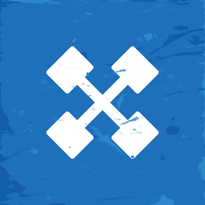 Icon Dumbbells Crossed on Blue Grunge Background