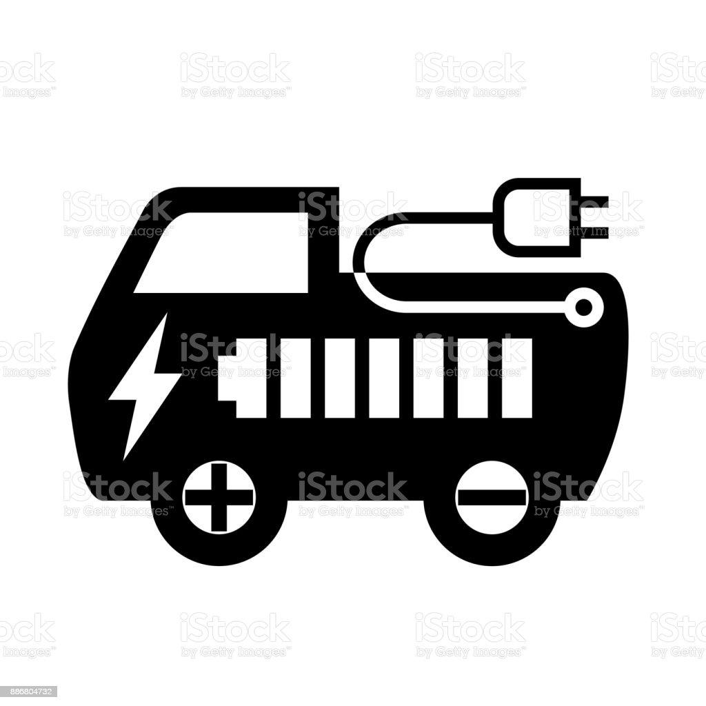 Symbolelektrische Auto Flach Stilvektorillustration Stock Vektor Art ...