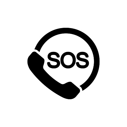 SOS icon. Emergency phone contact service on isolated white background. EPS 10 vector.